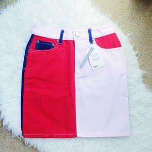 ASOS Denim Colorblock Skirt
